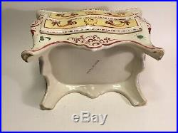 Antique French Faience Jewelry Box Vanity Commode by Henri Chaumeil c. 1920s