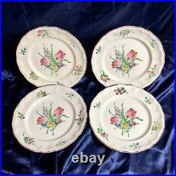 Antique French Faience Keller & Guerin (KG) Luneville Floral Dinner Plate Set