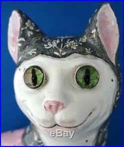 Antique French Faience Large Pink Galle Cat Glass Eyes Signed