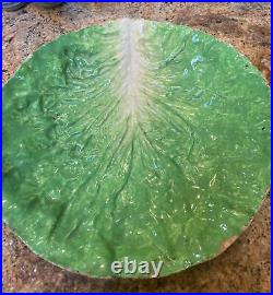 Antique French Faience Lettuce Cabbage Leaf 12 Inch Bowl Majolica E B Napoli