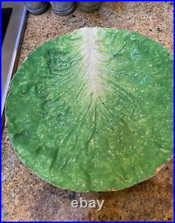 Antique French Faience Lettuce Cabbage Leaf 12 Inch Bowl Majolica Soft Paste