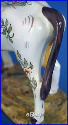 Antique French Faience Majolica Pottery Cow Ornament Figure