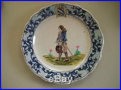 Antique French Faience Malicorne Quimper Large Plate 10 1890's