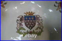 Antique French Faience Mont Saint Michel Bannette Armorial Bowl 10