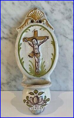 Antique French Faience Oval Handpainted Benetier Holy Water Wall Font 19th C