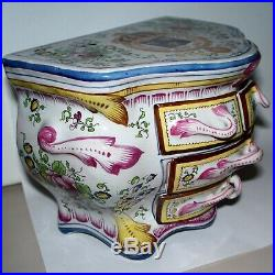 Antique French Faience Paul Hannong mark Jewelry Pottery Chest