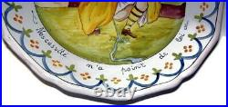 Antique French Faience Pie Plate Need Has No Law HP Lady Squatting & Peeing