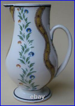 Antique French Faience Pitcher 19th. Century Poss. Quimper Or Nevers Pottery