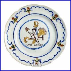 Antique French Faience Plate French Revolution. Vive'W' la nation Cherub