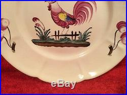 Antique French Faience Plate Hand Painted Rooster Plate c1890-1910