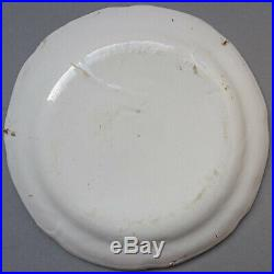 Antique French Faience Plate Les Islettes Luneville Pottery Ca. 1800 Tin Glazed