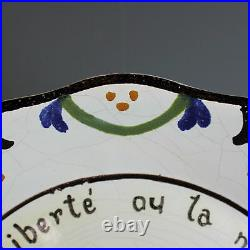 Antique French Faience Plate Malicorne La Liberte ou La Mort