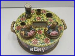 Antique French Faience Polychrome Porcelain Inkwell Stand Bronze Fittings 2x5.5