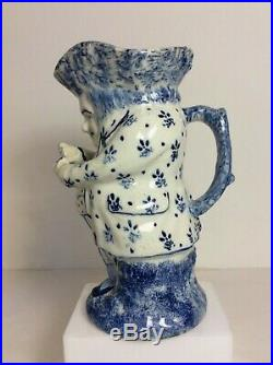 Antique French Faience Pottery Blue Spongeware Snuff-Taker Toby Jug