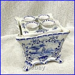 Antique French Faience Pottery Tulip Vase Planter Hand Painted Blue and White