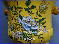 Antique French Faience Pottery Yellow Ground Wine Cooler Marseille Montpellier