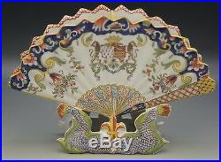 Antique French Faience Rouen Fan Shaped Vase Dolphin Fleur De Lis Breton Man
