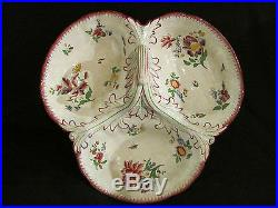 Antique French Faience Sarreguemines Divided Serving Dish 19th Century