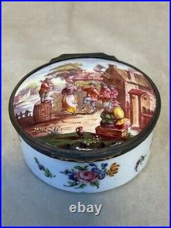 Antique French Faience Snuff Box 19th Century Hand Painted