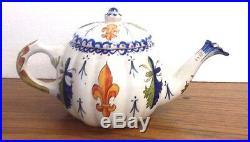 Antique French Faience Souvenir Teapot 4 H X 8 Single Serving Good Condition