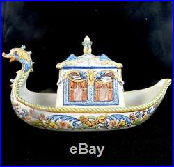 Antique French Faience Tin Glaze Pottery Model Ship With Box & Cover
