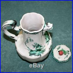 Antique French Faience Veuve Perrin Teapot With Lid, Chinoiserie, Gargoyle Spout