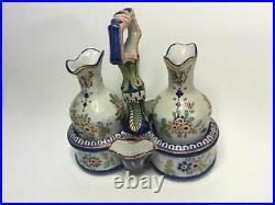 Antique French Faience Vineger & Oil Cruet Set Holder & Salts by Rouen c. 1880