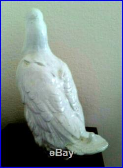 Antique French Faience White Pottery Terracotta Duck