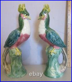 Antique French Faience pottery BIRDS OF PARADISE PAIR large 14 tall figures