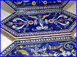 Antique French Faience set of 3 Chateau tiles
