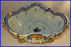 Antique French Geo Martel Desvres Faience Large Jardiniere Planter Bowl c1900 VG