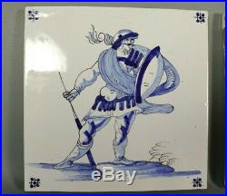 Antique French Geo Martel Hand Painted DESVRES Delft Blue Tile PAIR Faience