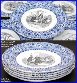 Antique French Gien Faience 5pc Cabinet Plate Set, Bouffoneries Figural Scenes