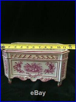 Antique French Gien Faience Pink Transferware Assembled Cachepot Garniture