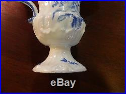 Antique French Italian Faience or Dutch Delft Blue White Ewer Expertly Restored