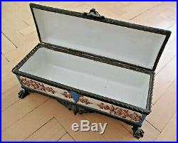Antique French JEWELRY BOX Lebeuf Milliet & Cie Creil Montereau Faience Pottery