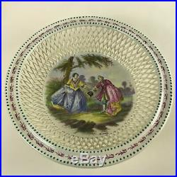 Antique French Lille 1767 Signed Hand Painted Openwork Faience Bowl