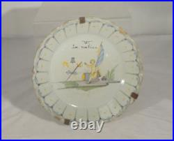 Antique French Majolica Maiolica Faience Pottery Plate Reparied As Is