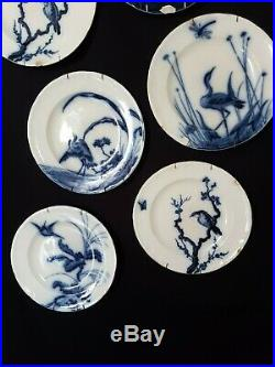 Antique French, Plate Set, Longwy, Blue and White Faience, Birds, 1900, Damaged