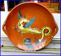 Antique French Pot Pottery Quimper Jaspe Slipware Faience Confit Pitcher Carafe