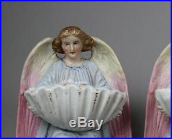 Antique French Pottery Pair of Angel Figures Bisque Benetier Faience