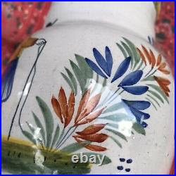 Antique French Pottery Pitcher HenRiot Quimper Brighton Man Faience Red Clay