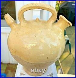 Antique French Pottery Pot Confit Yellow Glaze Gargoulette Spatterware Faience