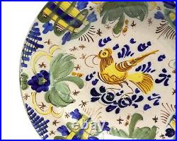Antique French Provincial Tin Glazed Faience Dish/Plate with Bird 19th Century