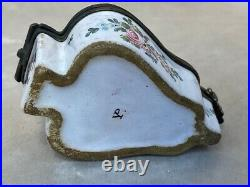 Antique French Rare Veuve Perrin Faience Snuff Box 18th Century Hand Painted