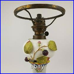Antique French Rouen Faience Candlestick & Moore Brothers Oil Peg Lamp 19th C