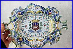 Antique French Rouen porcelain faience Armor shield plate tray