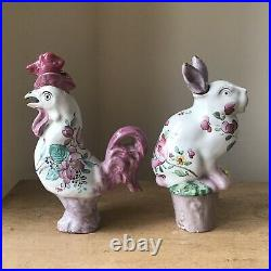 Antique French Sarreguemines Faience Pottery Oil Bottles Rabbit & Cock, Easter