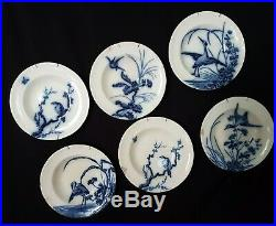 Antique French, Soup Plate Set, Longwy, Blue and White Faience, Birds, 1900, Damaged