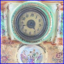 Antique French Strasburg Ware Faience Porcelaine Mantel Clock Majolica